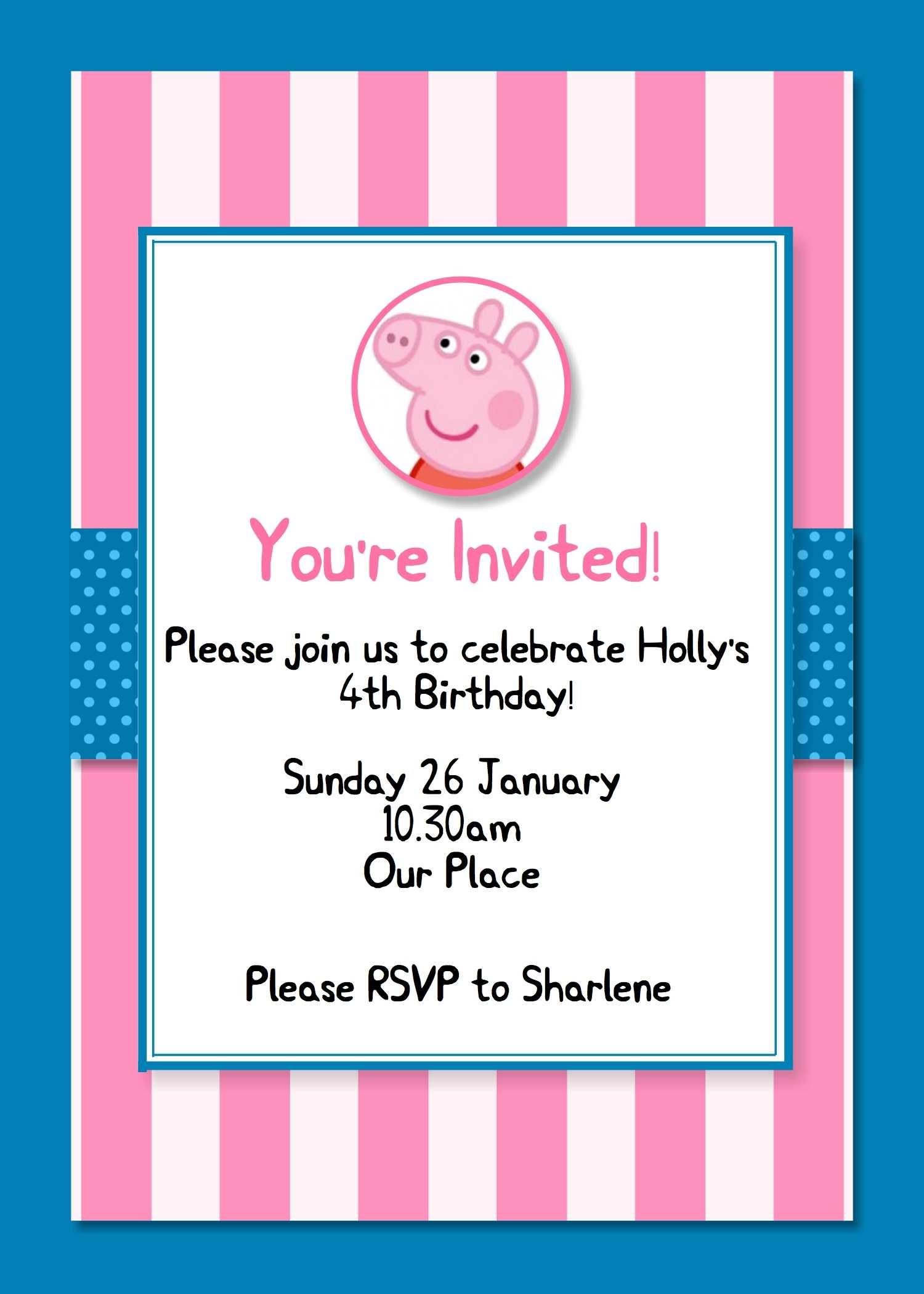 39 format peppa pig birthday invitation