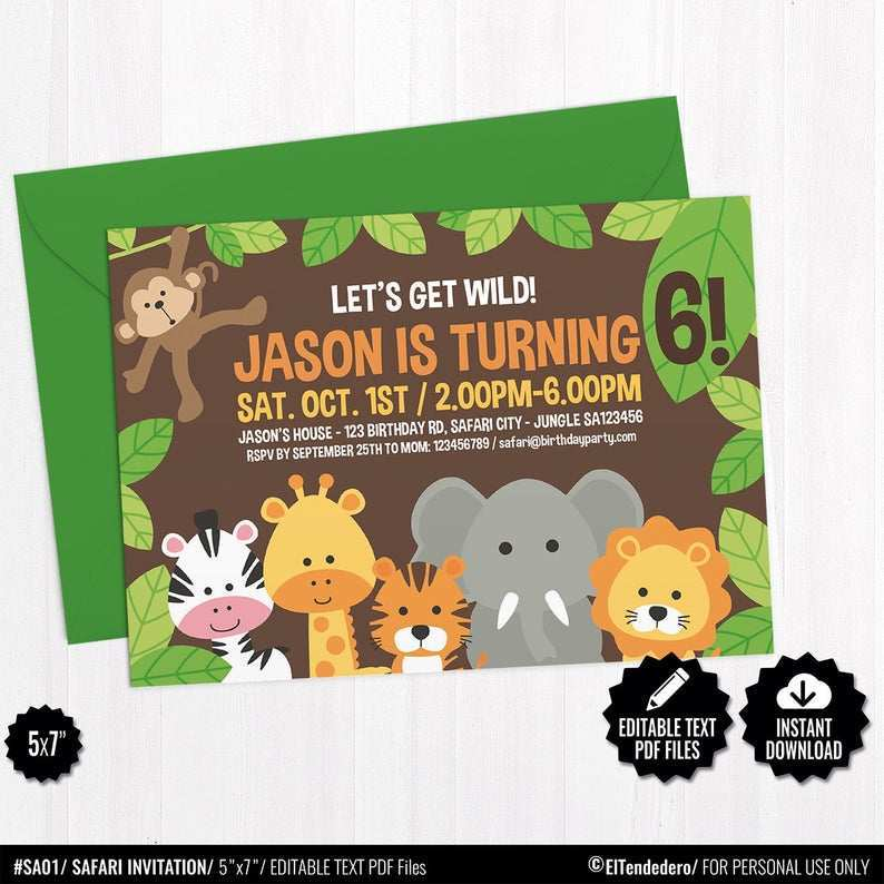 40 blank safari birthday invitation