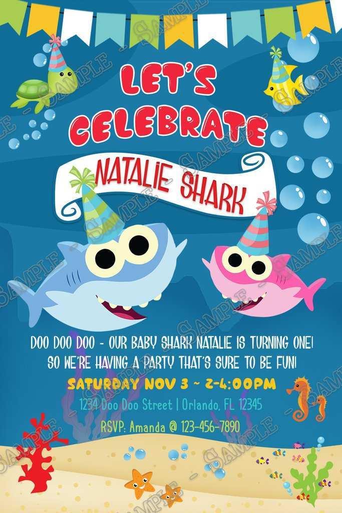 45 Blank Baby Shark Birthday Invitation Template For Free For Baby Shark Birthday Invitation Template Cards Design Templates