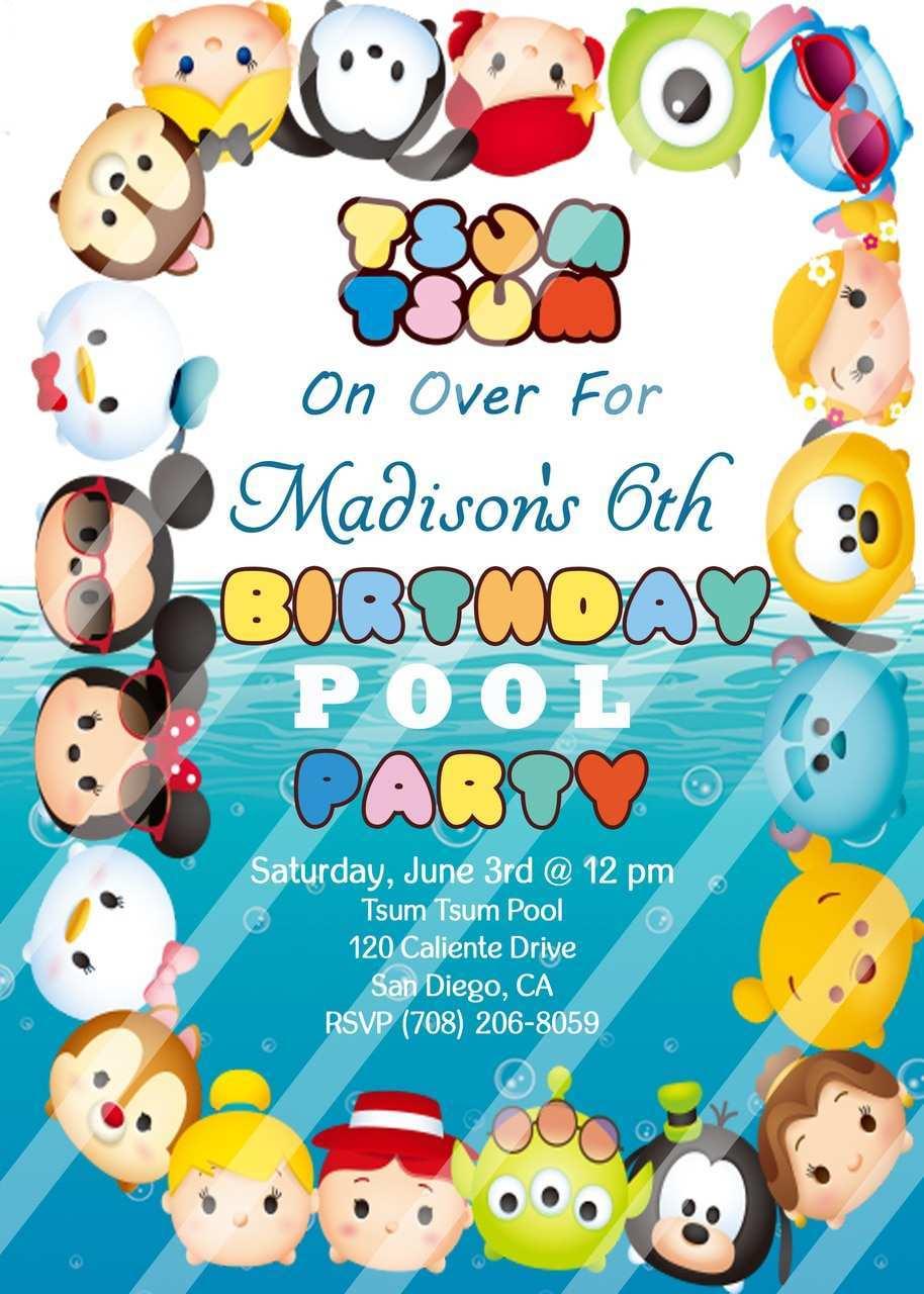 tsum tsum birthday invitation template