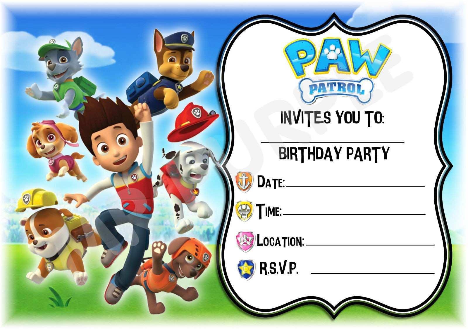 63 blank paw patrol birthday invitation