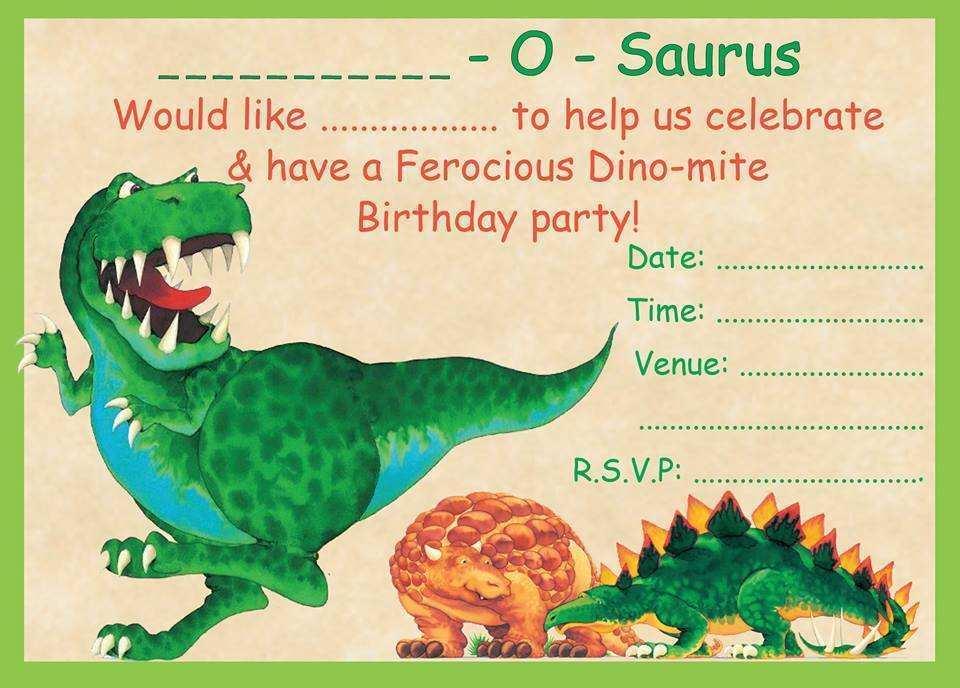 71 format blank dinosaur invitation