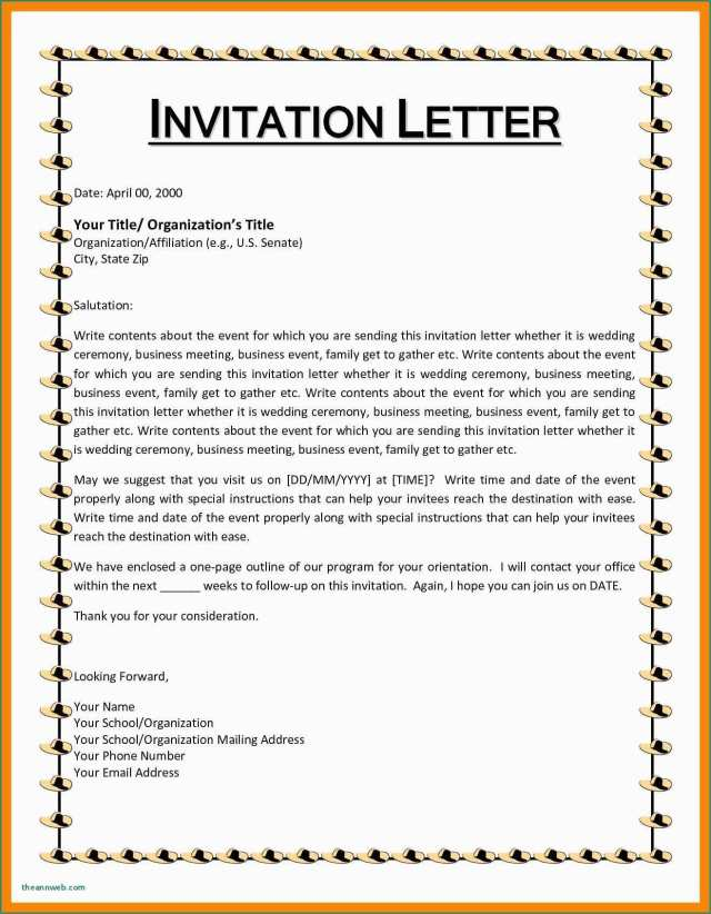 15 Free Printable Formal Invitation Letter Template For Event