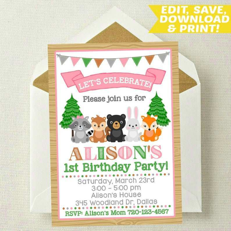 woodland birthday invitation template