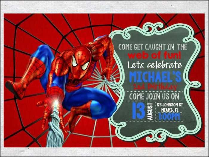 82 adding spiderman birthday invitation