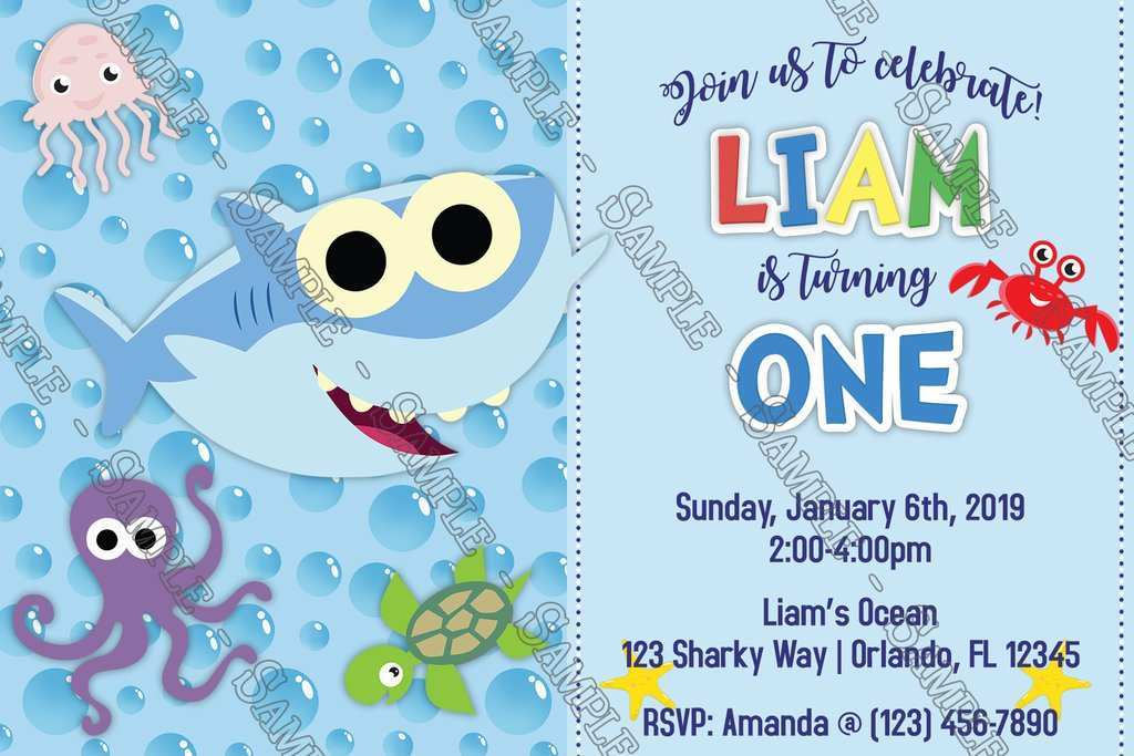 baby shark birthday invitation template