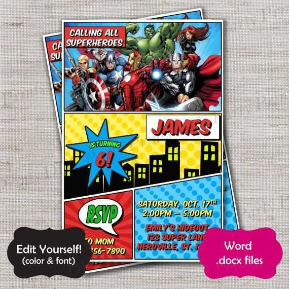 avengers birthday invitation template