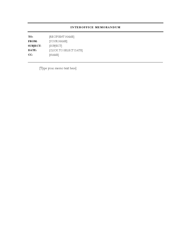 Interoffice Memo Template. Standard Interoffice Memo Template Soft