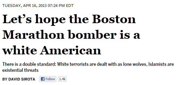 David Sirota - Lets hope Boston Marathon bomber white American
