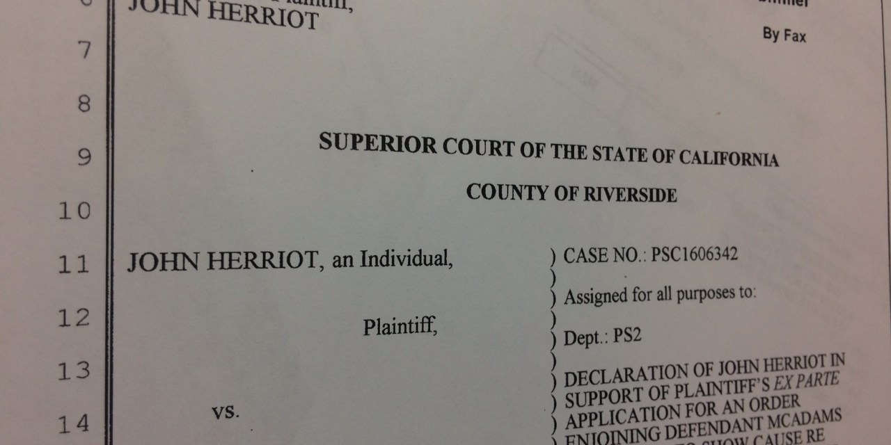LYING UNDER OATH: Declaration of Herriot in Support of TRO Against McAdams