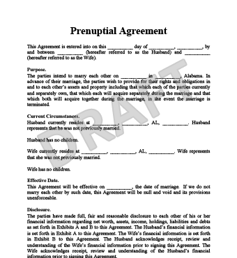 free prenuptial agreements templates pdf