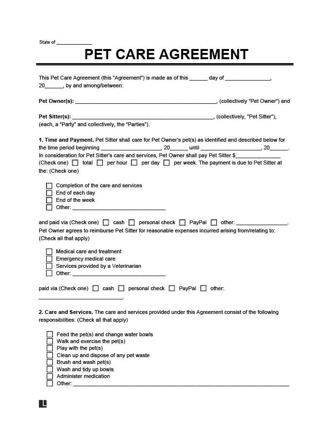 Pet Care Agreement Create A Free Pet Care Agreement Form