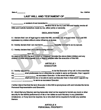 Free Last Will And Testament Form Legal Templates