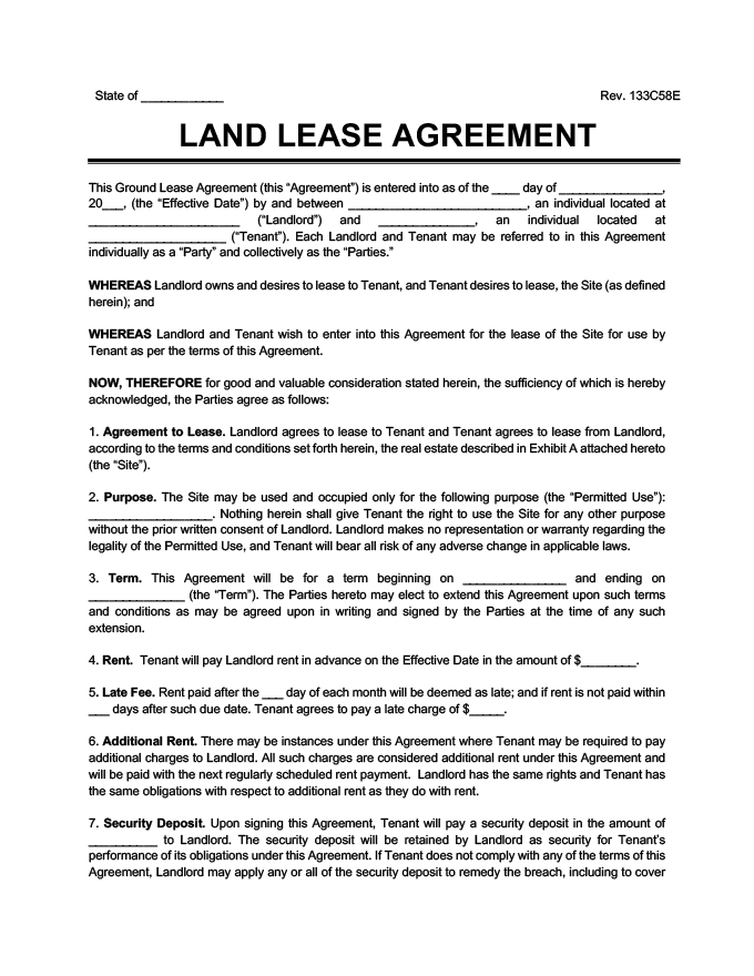 Ground Lease Agreement Print Download Legal Templates