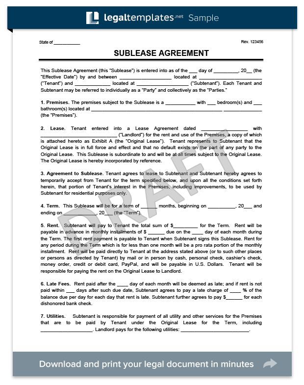 Sublease Agreement Template Example