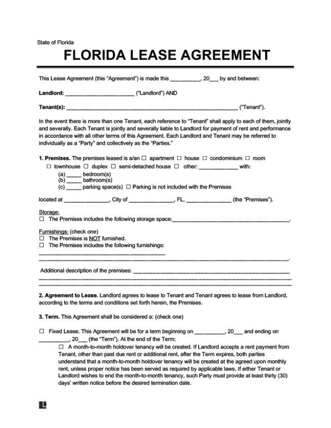 Florida Residential Lease Al
