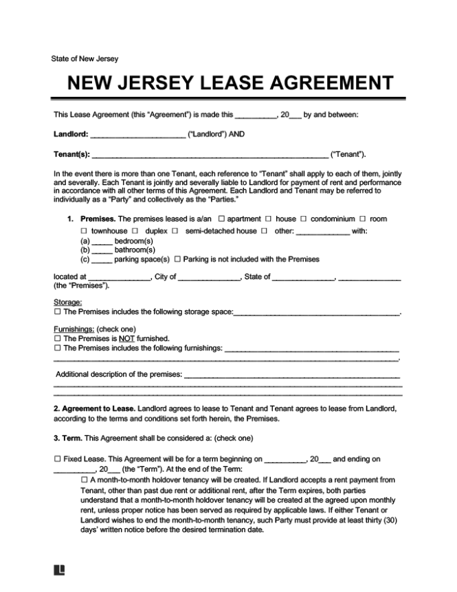New Jersey Residential Lease Agreement