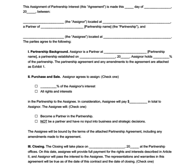 Assignment Of Partnership Interest Form Template