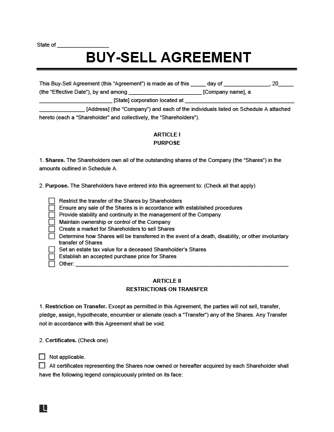 Buy Sell Agreement Template Create A Free Buy Sell Agreement