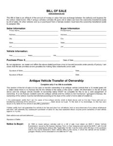 Free Kansas Bill Of Sale Form Pdf Template Legaltemplates