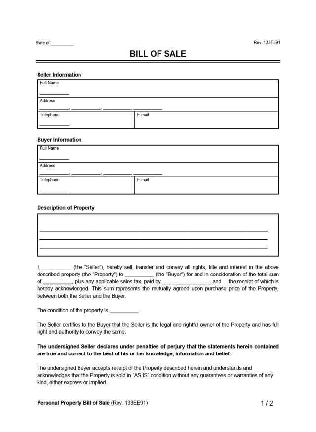 Free Bill of Sale Form  Downloadable Template [PDF & Word]