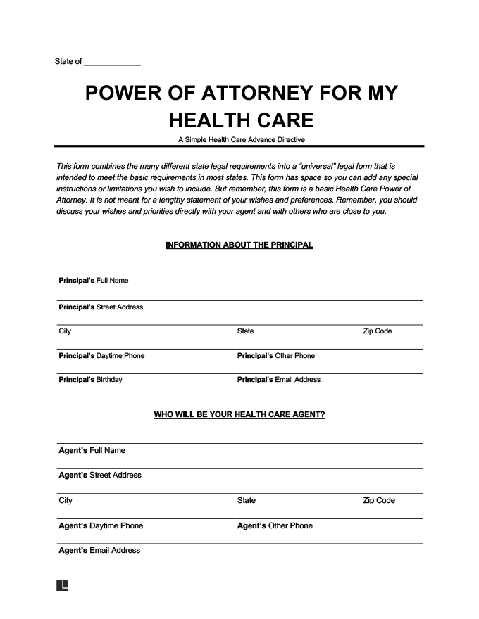 Free Medical Power Of Attorney Forms Mpoa Download Pdf