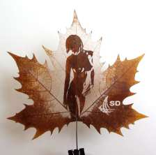 Leaf Carving Naked Woman