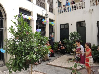 Children in the decorated courtyard