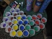 Paints ready for the children's projects