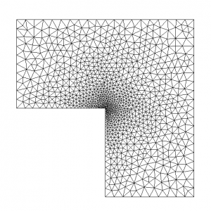 Mesh of the homogeneous model (~ 2 000 elements).