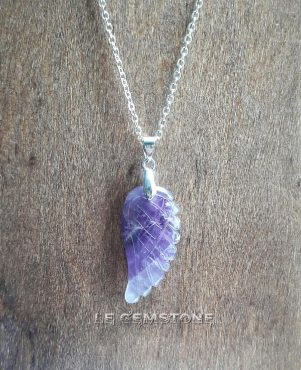 Angell Wing Amethyst Pendant Necklace