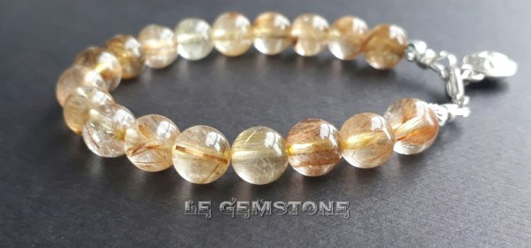 Golden Needle Rutile Quartz Charm Bracelet