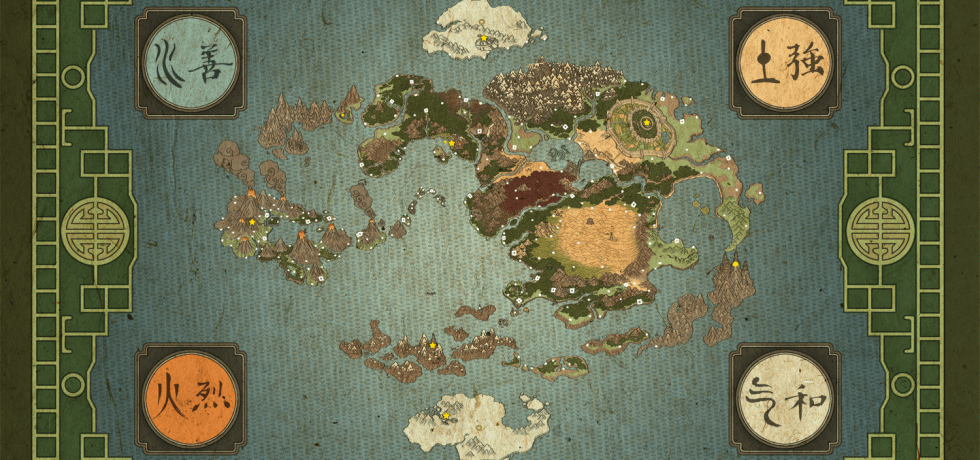 Avatar world map showing all four nations.