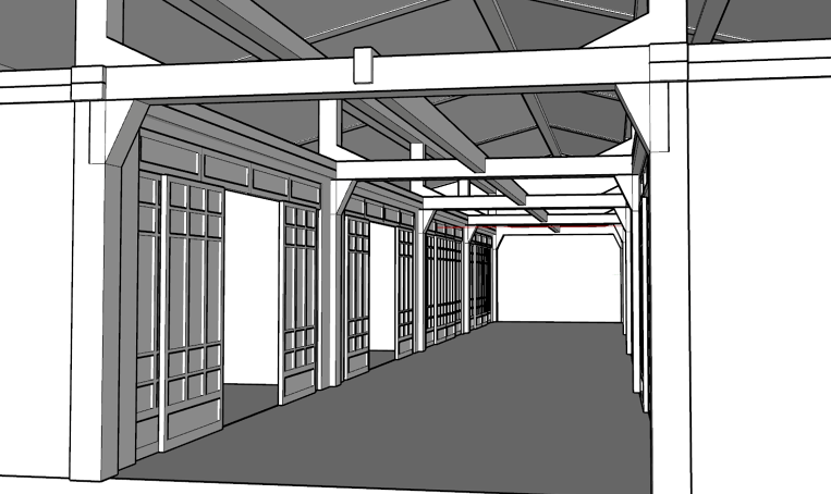 Design of a black and white hallway design in a computer program