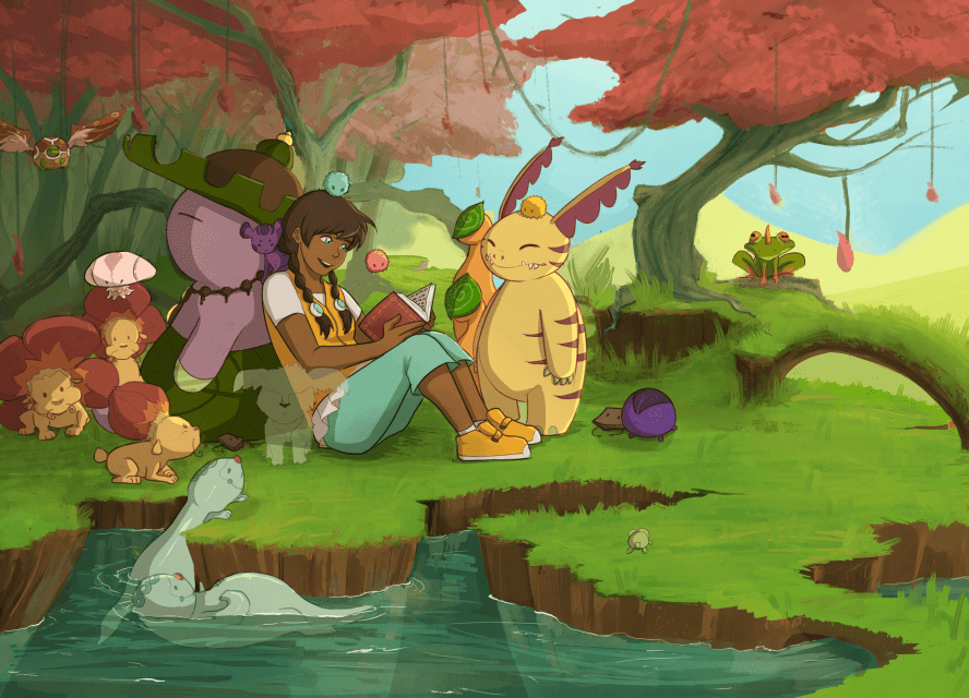 Nami is chilling with several spirits, reading a book next to a river and trees.