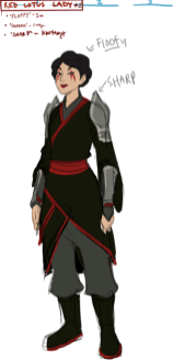 """Design of a woman with black and red robes and shoulder armor, with the title of """"Red Lotus Lady""""."""