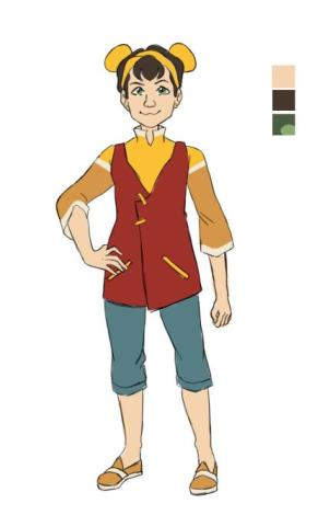 Design of a young child with her hair in two buns and wearing red, orange and yellow clothing.