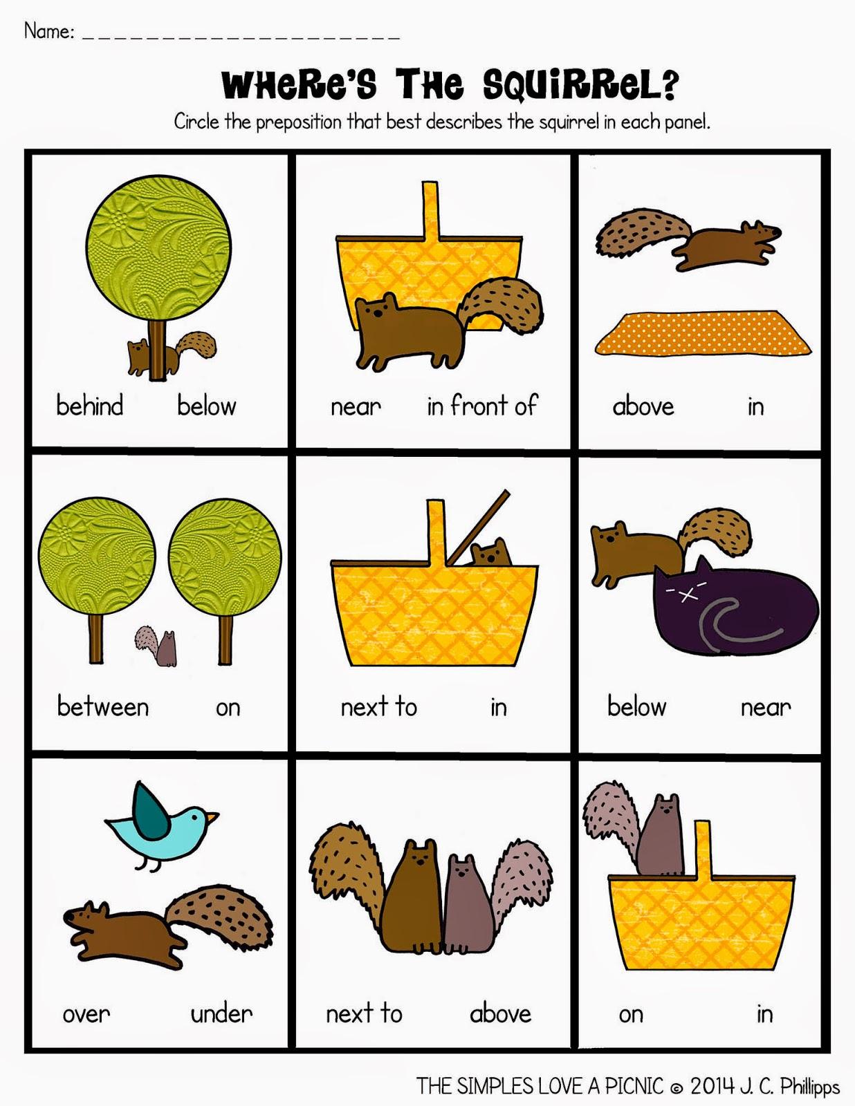 Free Printable Preposition Worksheets For Kindergarten