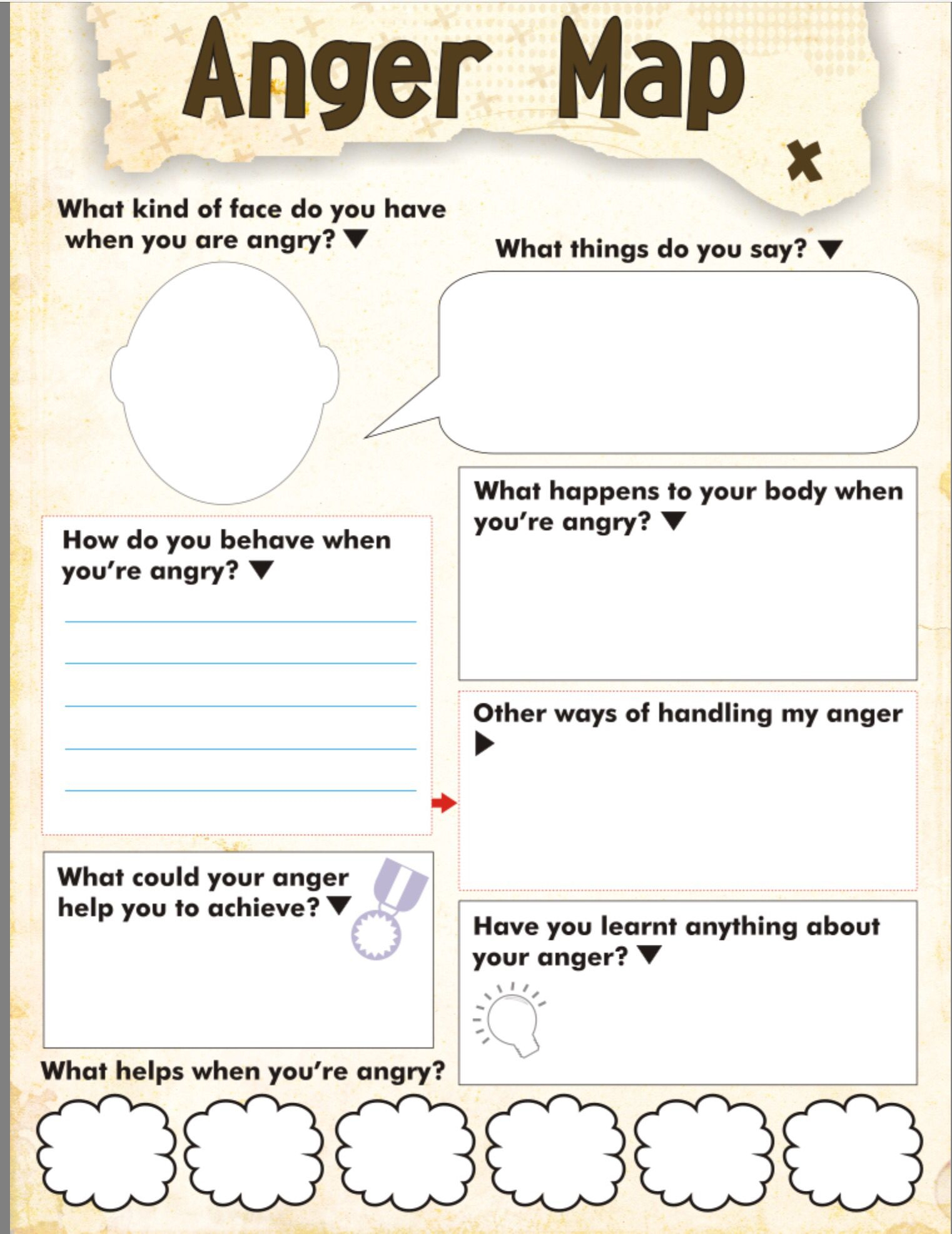 Anger Management Skill Cards Worksheet