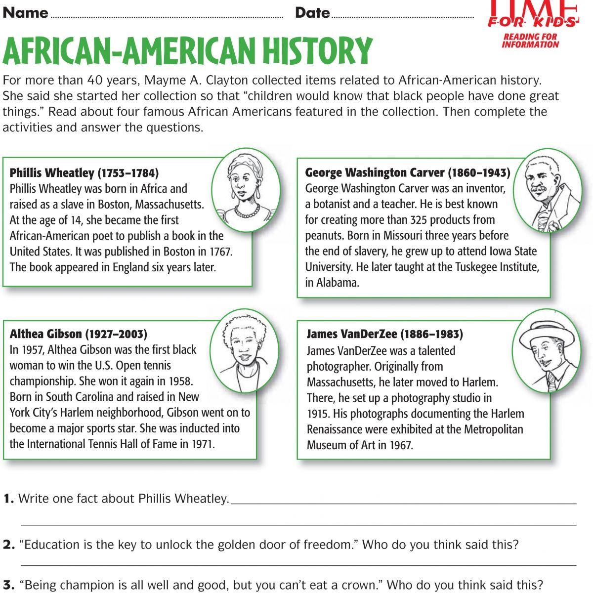 Black History Month Free Printable Worksheets