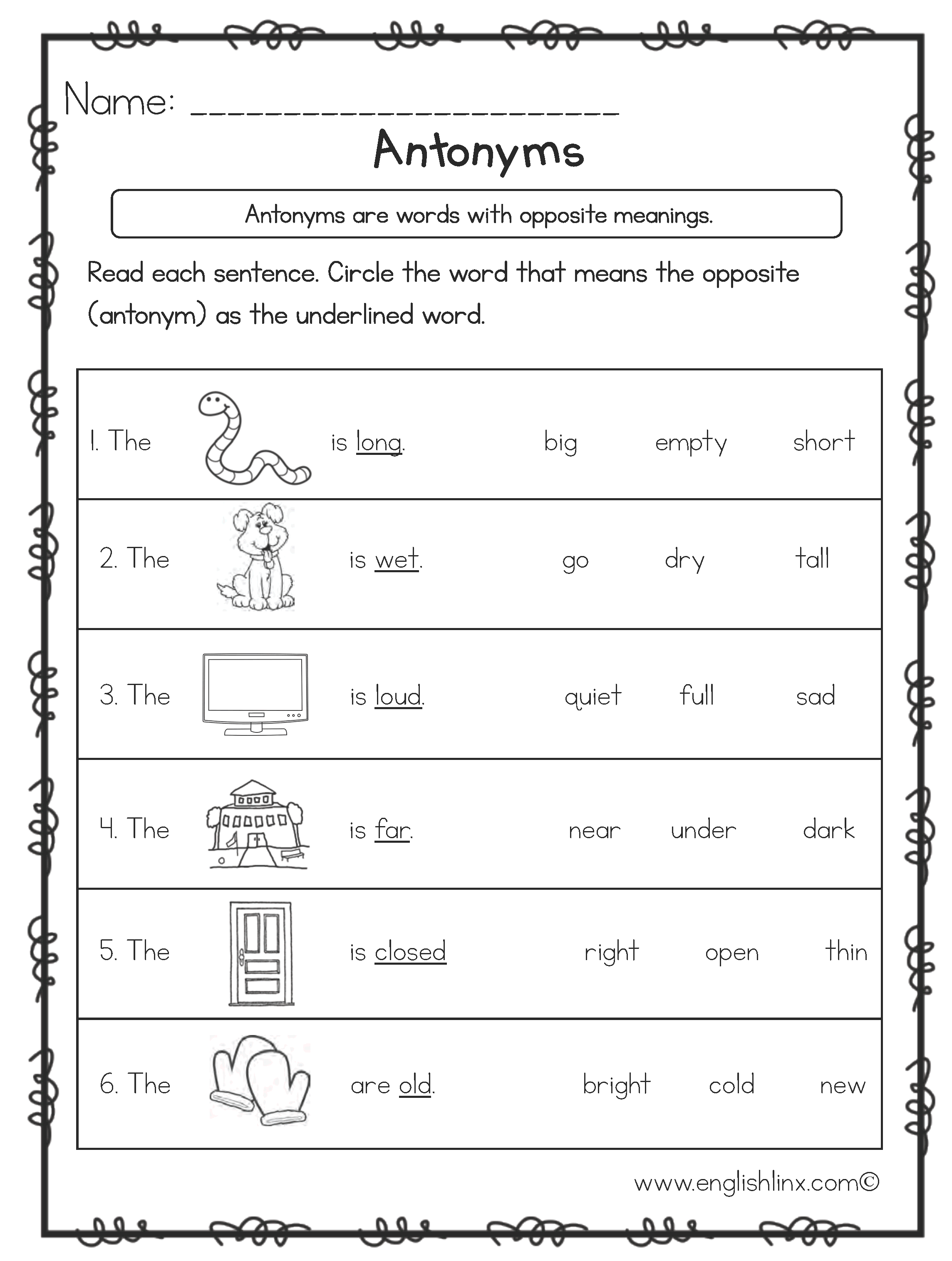 Antonyms Printable Worksheets