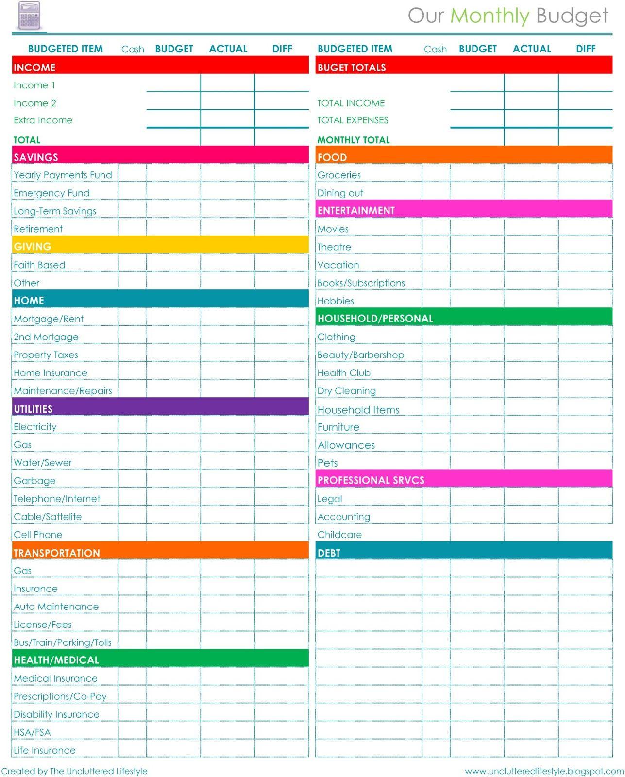 Free Printable Dave Ramsey Worksheets