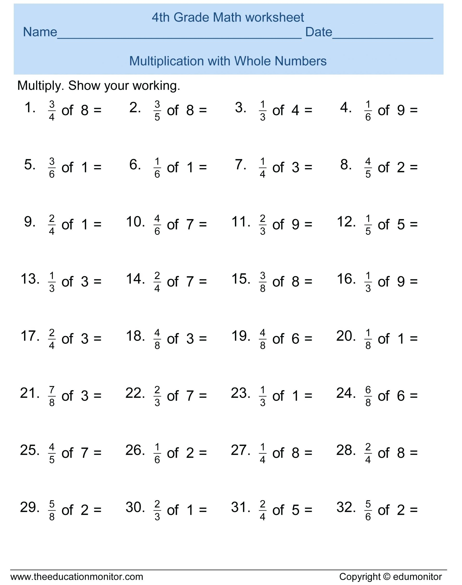 4th Grade Math Worksheets Printable