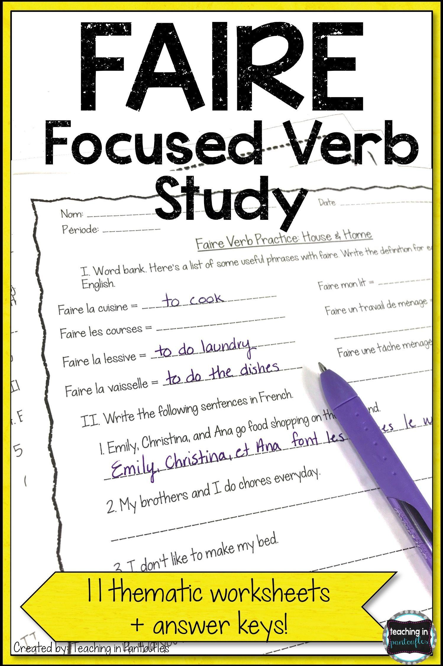 Verb Worksheet Junior High