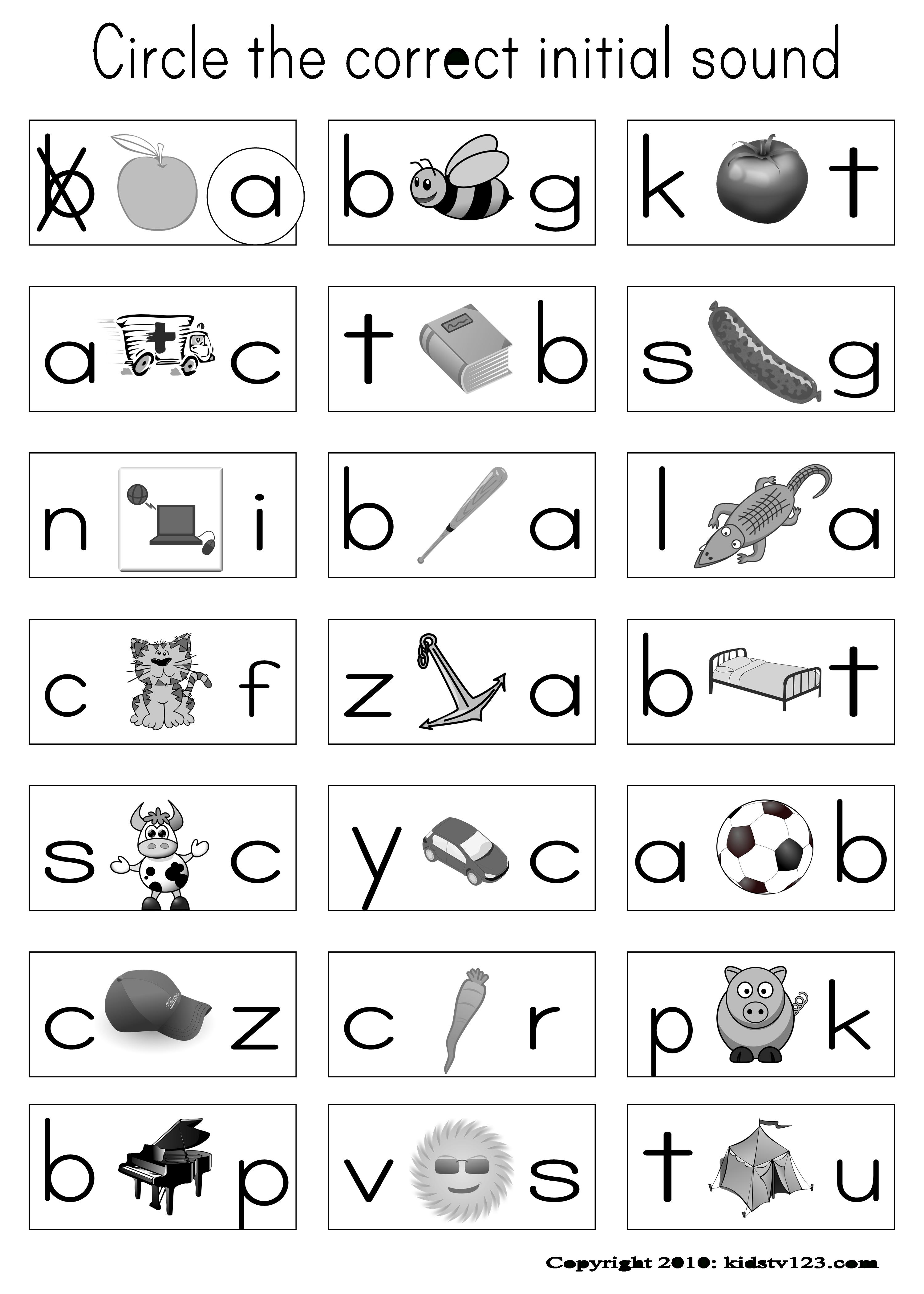 Printable Beginning Sounds Worksheets