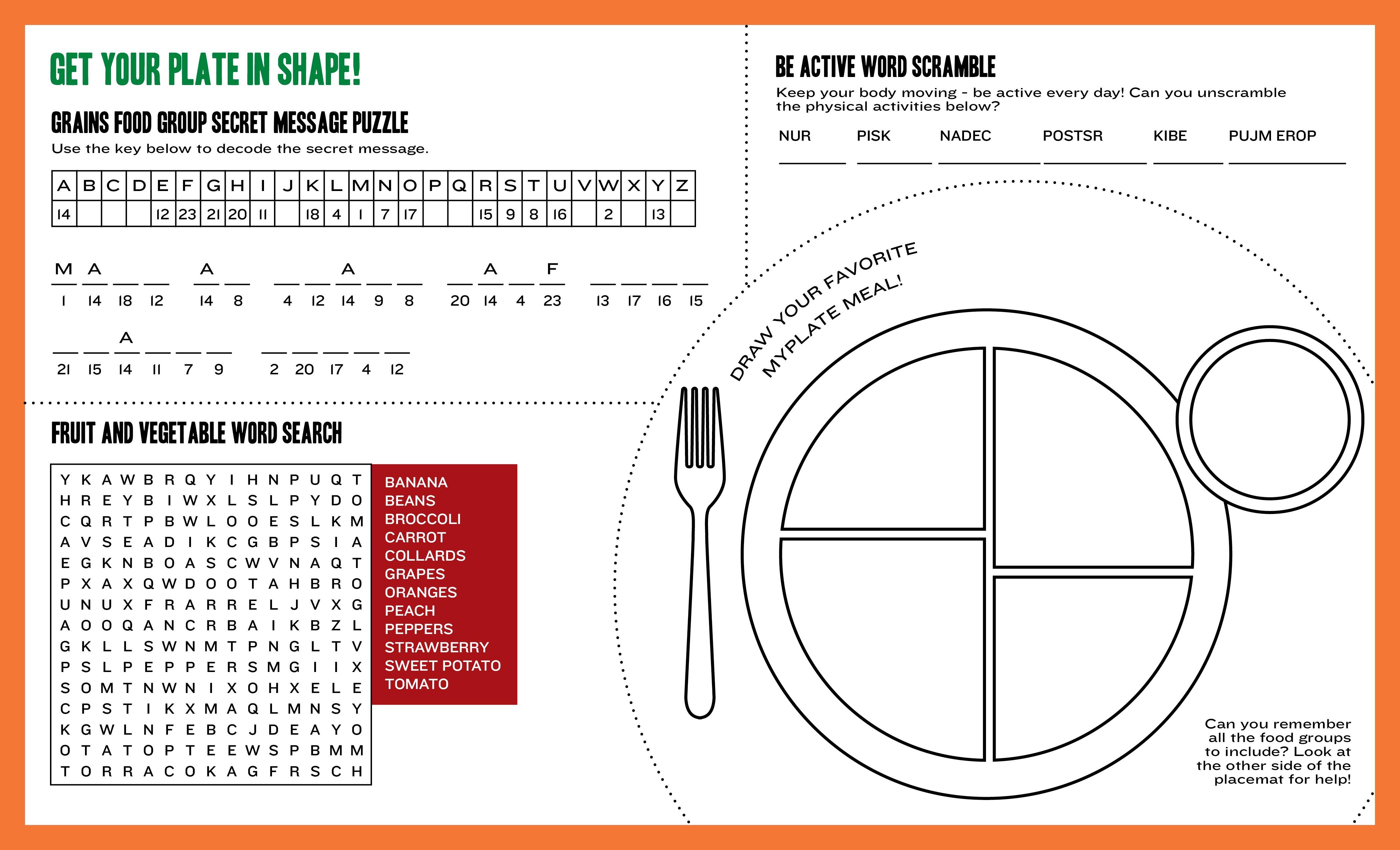 Choose My Plate Printable Worksheets