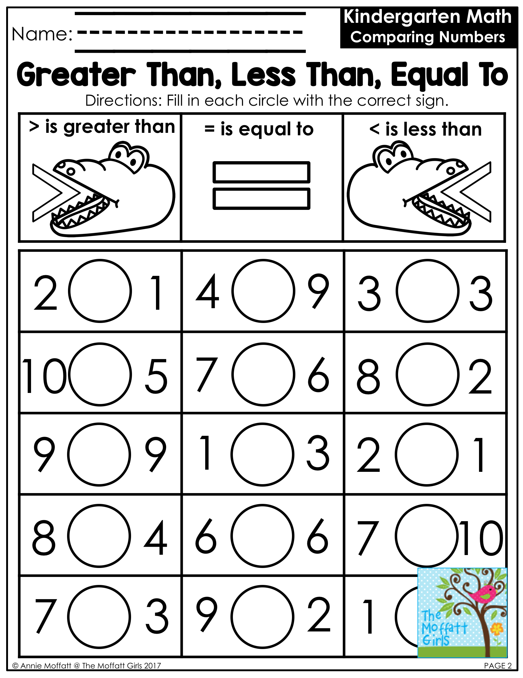 Greater Than Less Than Worksheets Free Printable