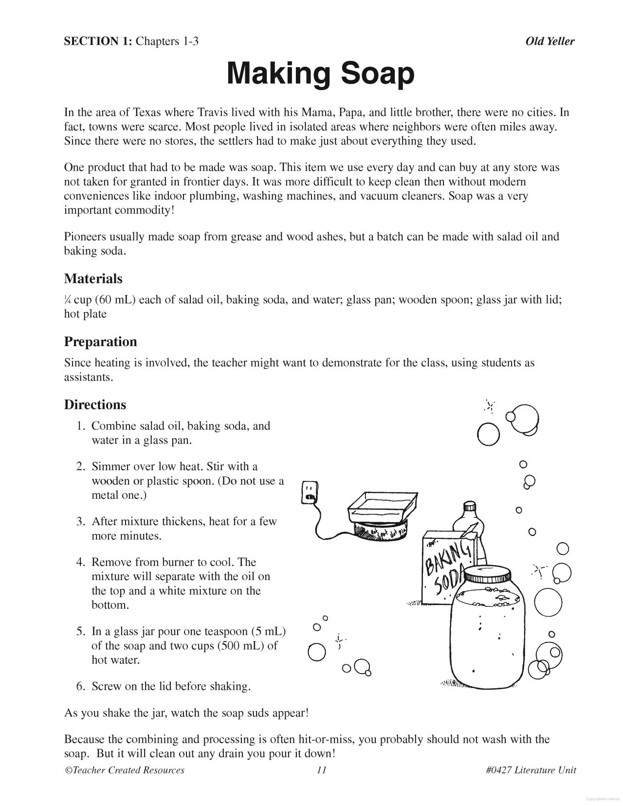 Old Yeller Printable Worksheets
