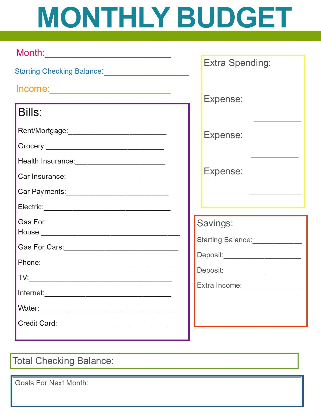 Free Printable Monthly Budget Worksheet Detailed Excel