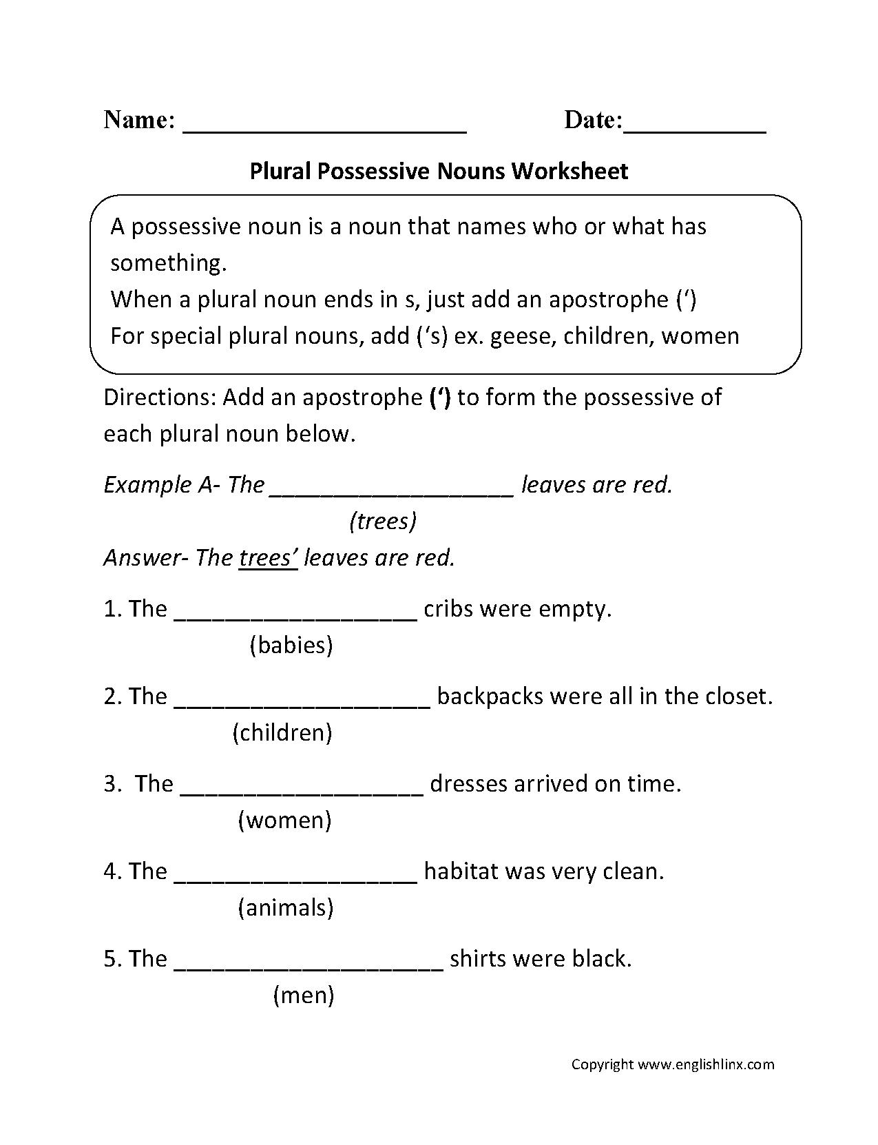 Possessive Pronouns Printable Worksheets